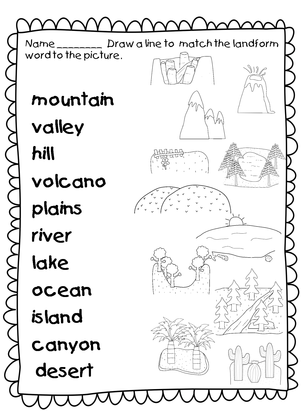Science Landforms Worksheets