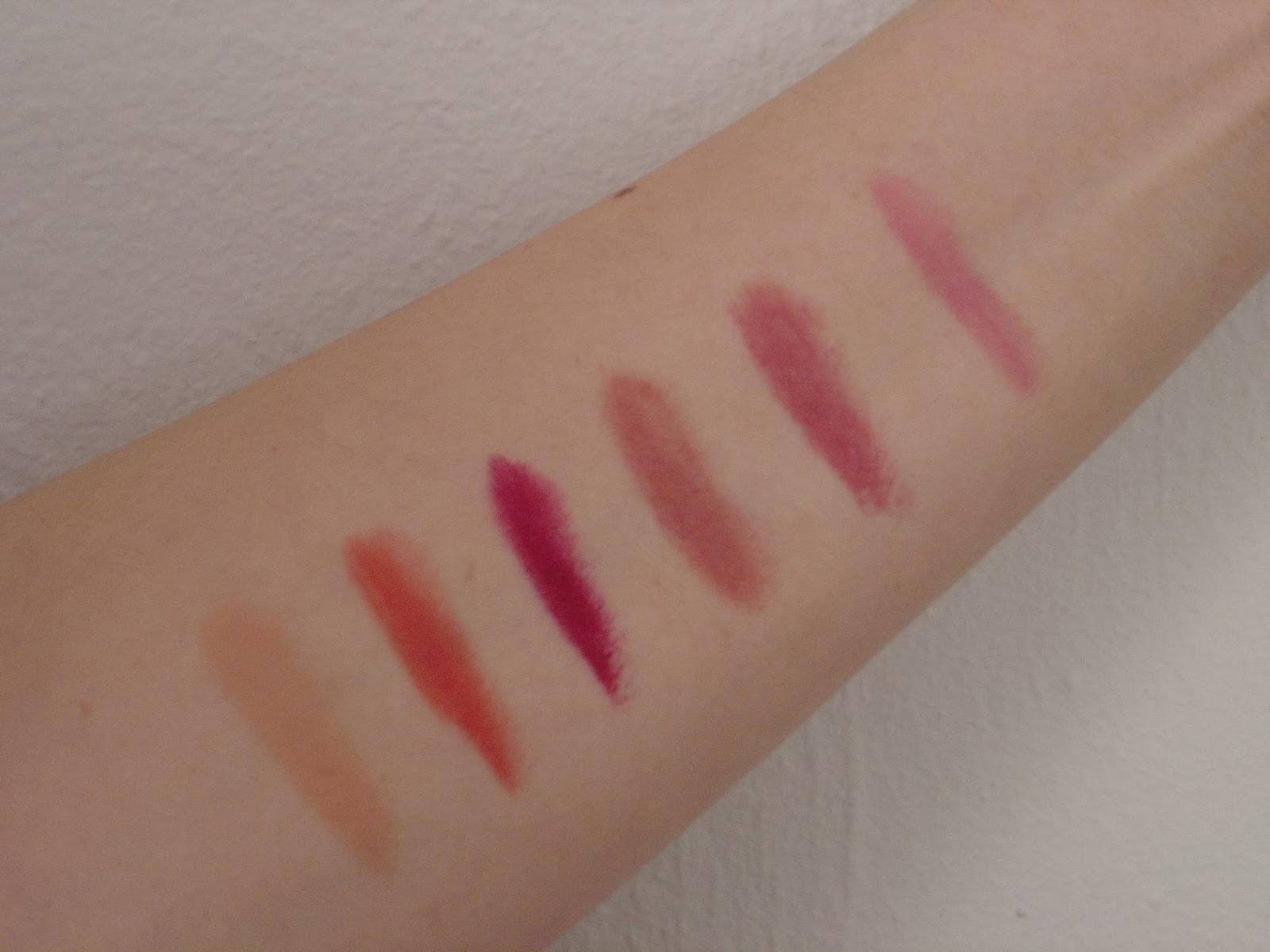 Swatches of six Rimmel Lasting Finish Matte lipsticks.jpeg