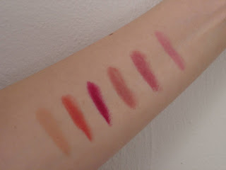 Swatches of six Rimmel Lasting Finish Matte lipsticks.jpeg