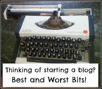 Old, battered typewriter with title overlaid