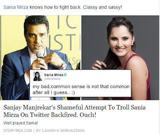Sania,Sanjay Manjrekar,Twitterwar,Number one,Times poll,socialnetwork