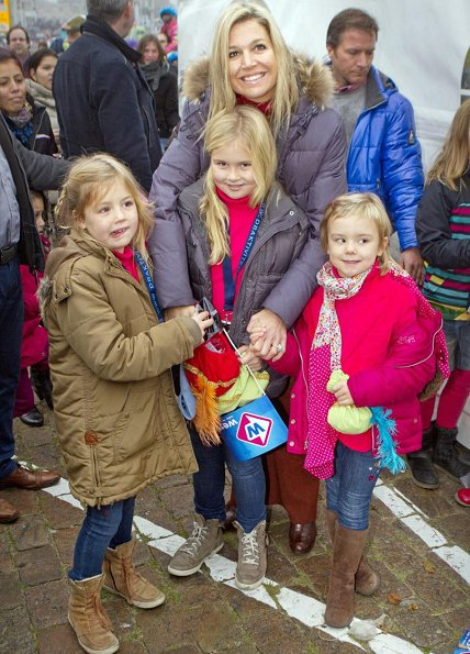 Crown Princess Maxima with her daughters Princess Amalia, Princess Alexia and Princess Ariane welcomes Sinterklaas