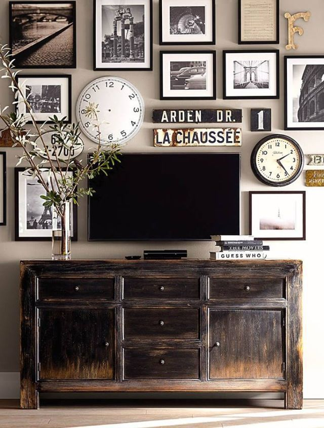 Pottery Barn gallery wall around TV