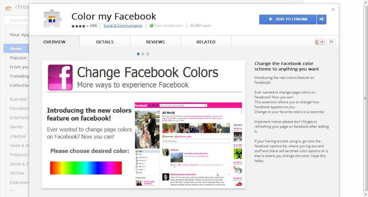 Change Fb Color With Google Chrome Plug In