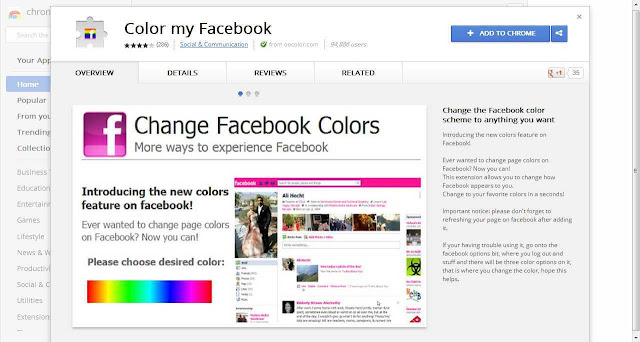 Change FB color with Google Chrome plug-in