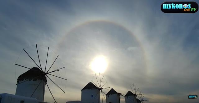Το κυκλικό ουράνιο τόξο στον ουρανό της Μυκόνου (βίντεο)