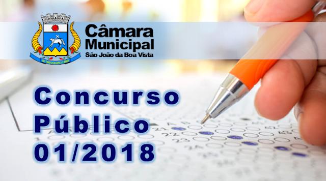 Concurso da Câmara Municipal de São João da Boa Vista 2018