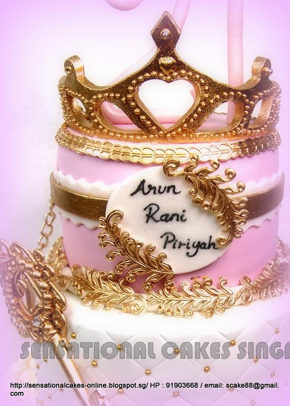 The Sensational Cakes 3 Tier Princess Pink Golden Cake