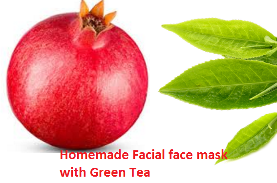 Whitening pomegranate Homemade Facial face mask with Green Tea