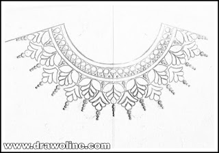 Embroidery kurti neck drawing for blouse by pencil sketches on tracing paper.  Neckline sketch for embroidery salwar kameez and suits,draw neck designs.    Top 5 patterns for necks design for embroidery and machine embroidery design.