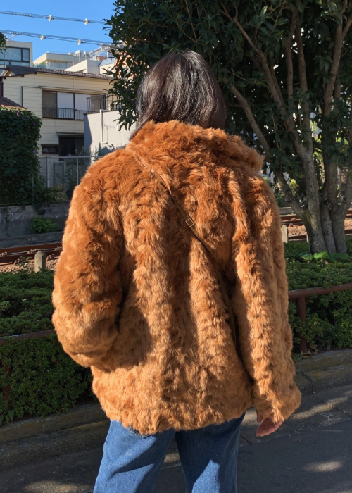 Brown Faux Fur High Neck Jacket