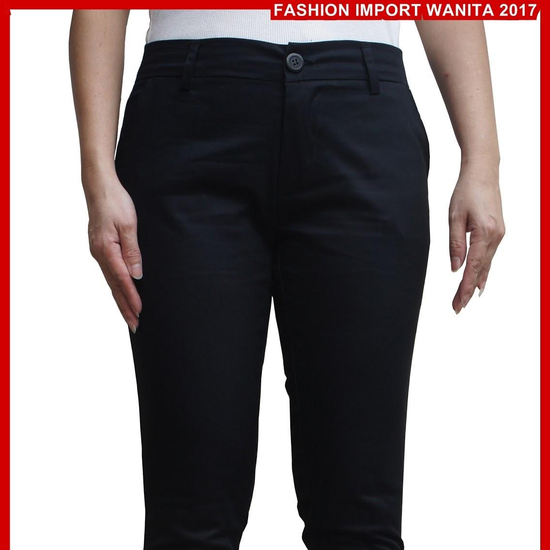 ADR093 Celana Wanita Hitam Panjang Chino Import BMG