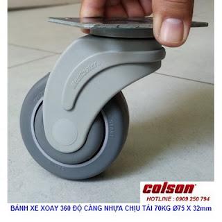 Bánh xe xoay 360 càng nhựa Colson 3 inch chịu tải nhẹ | STO-3856-448 www.banhxedayhang.net