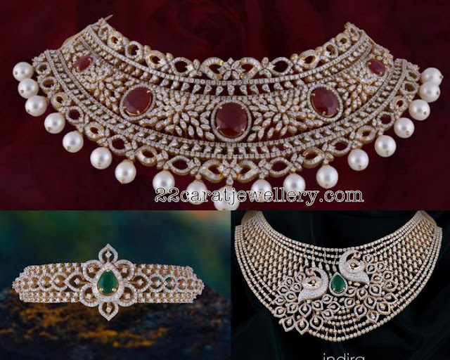 Diamond Chokers by Satyanarayana Jewels