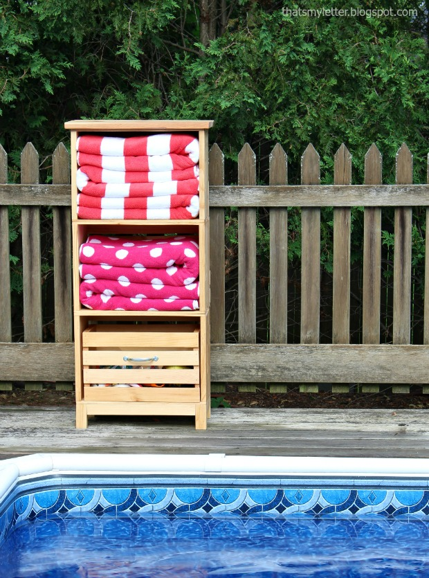 diy poolside towel and toy storage unit