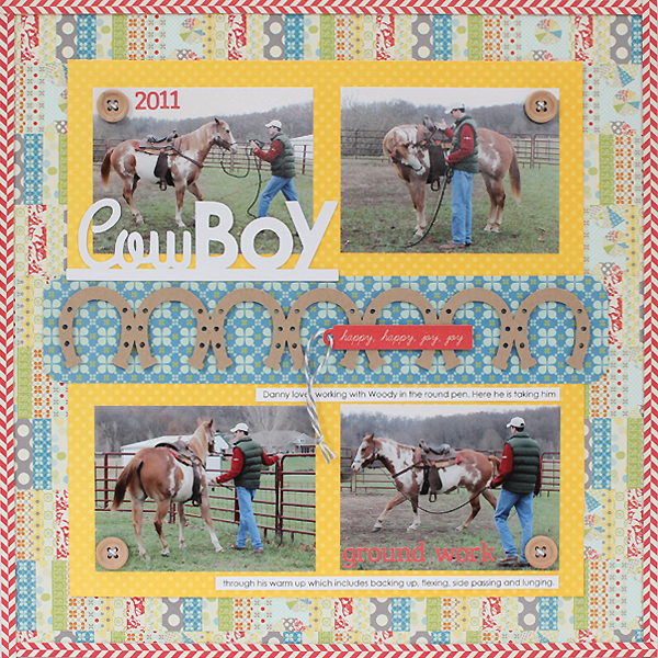 Horse Layout using Howdy Sunshine Free Cut File by Juliana Michaels with horseshoe border and cowboy title