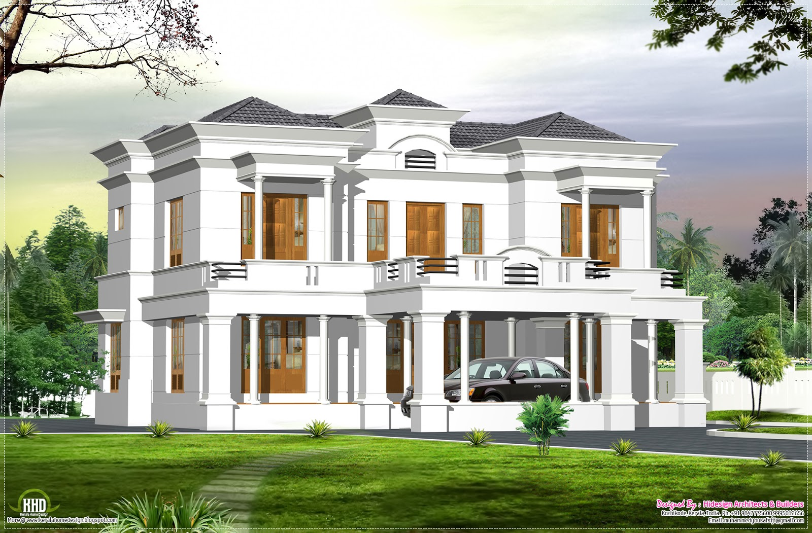 An english style 4 bedroom kerala bungalow home elevation for Bungalow plans and elevations