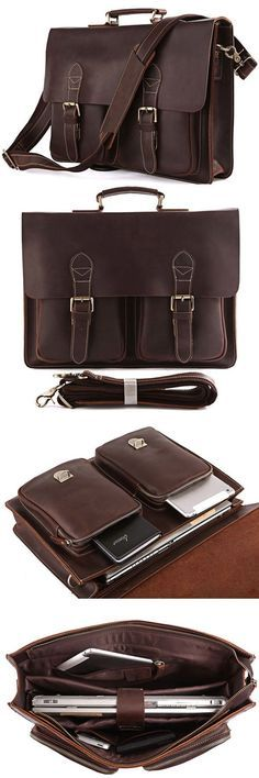 Top 1 Organizer Leather Laptop Briefcase for Men
