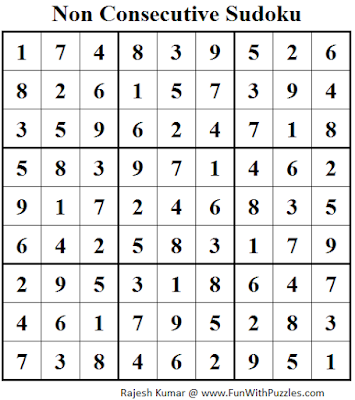 Non Consecutive Sudoku (Fun With Sudoku #77) Solution