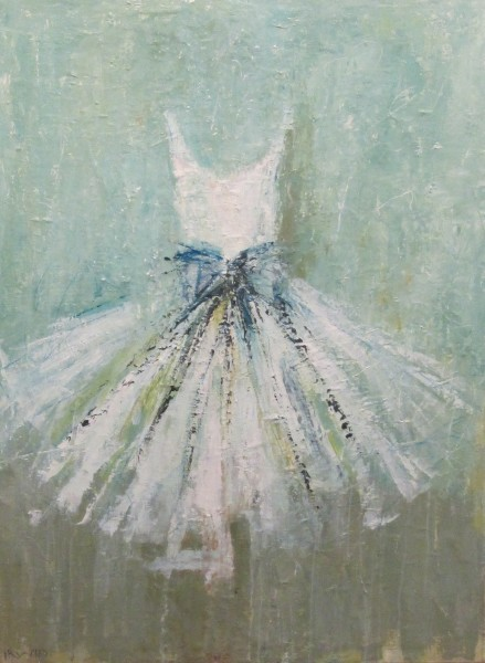 Beautiful white dress tutu painting with aqua background by Holly Irwin