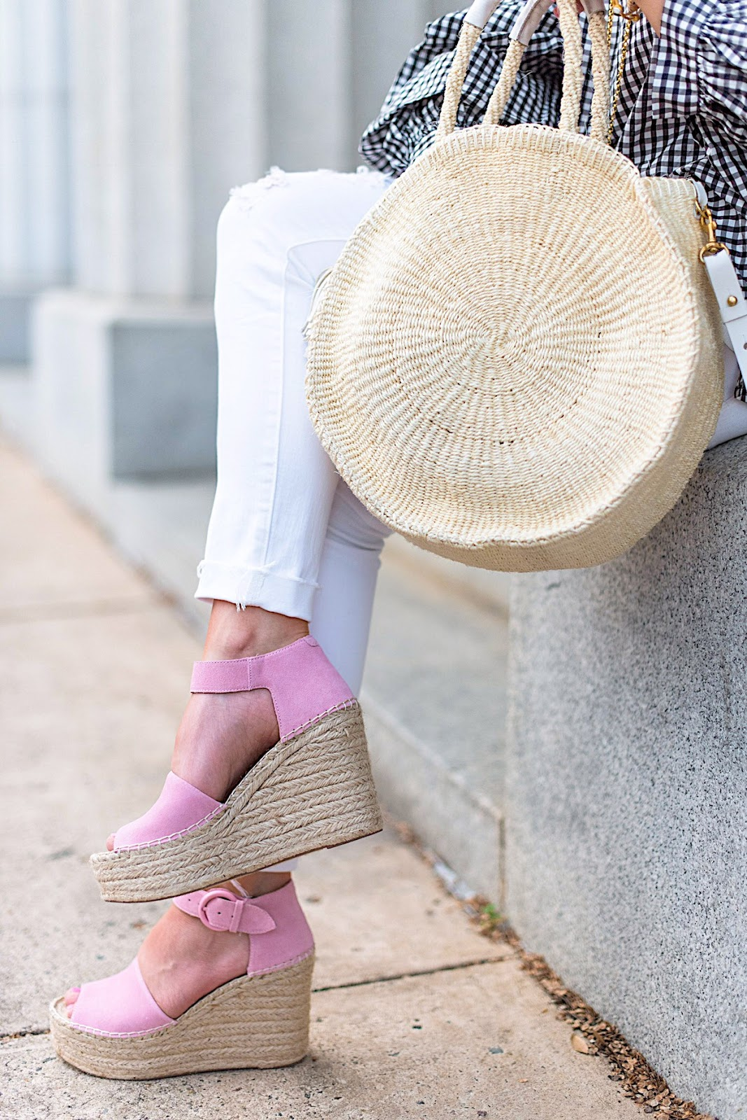 Marc Fisher Wedges & Clare V. Alice Tote - Click through to see the full post on Something Delightful Blog