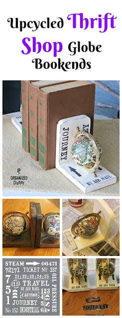 Upcycled Vintage Thrift Shop Globe Bookends www.organizedclutter.net