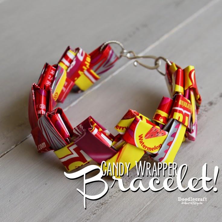 Candy Wrapper Bracelet  Did you make starburst or gum wrapper bracelets before? I loved making these! Save those candy wrappers for the perfect upcycled gift.