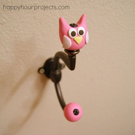 DIY pink owl hook