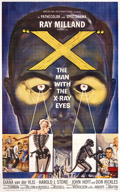 X, The Man with the X-Ray Eyes - Vintage Sci-Fi Movie Poster, classic posters, free download, free posters, free printable, graphic design, horror movie poster, movies, printables, retro prints, sci-fi movie poster, theater, vintage, vintage posters, vintage printables