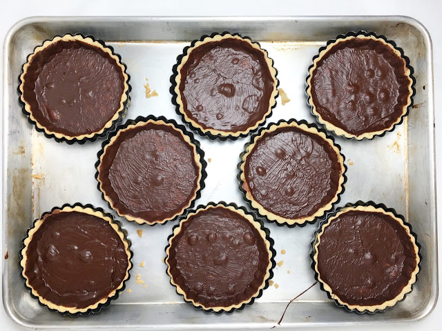Tray of Chocolate Lined Pate Sucree Tart Shells