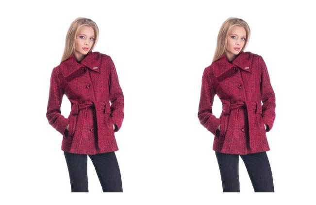 Palton dama scurt de toamna-iarna de lana de calitate bordo