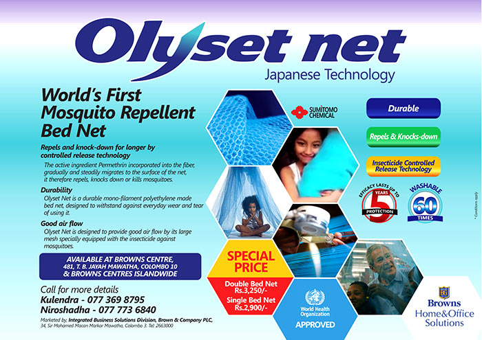 Sumitomo Chemical's Olyset Net has revolutionized the global fight against malaria. Protecting nearly 800 million people since it received WHO recommendation in 2001 ; the highly durable and award-winning LLIN (long lasting insecticidal net) uses hybrid polymer and controlled insecticide release technology to repel, kill and prevent mosquitos from biting for up to five years.