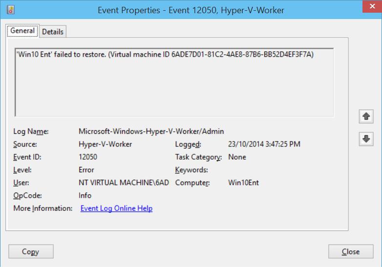 Cookie Boy: Hyper-V VM Error After Completed Windows Update on