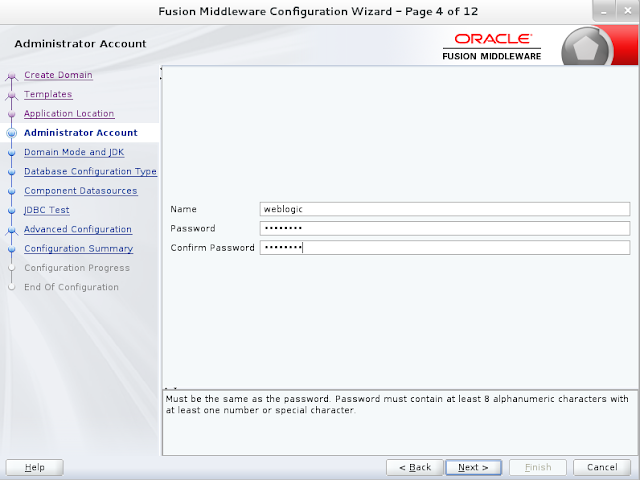 Weblogic domain creation step 4