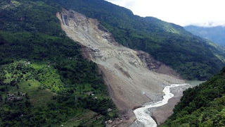 landslide blocks kanaka river at Mantem village makes lake in North Sikkim