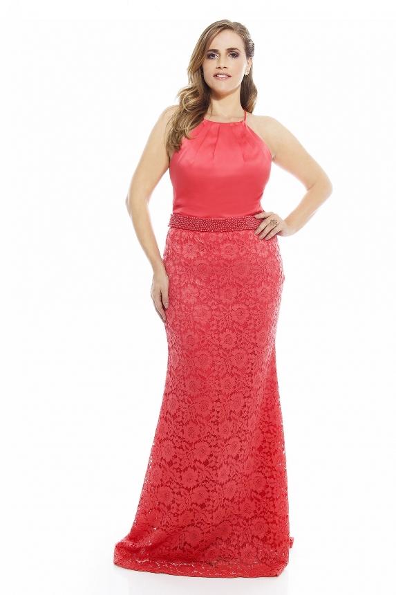 vestido de festa coral