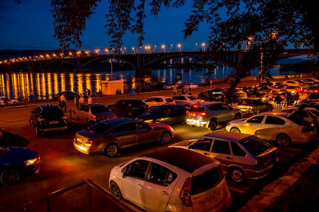 Ночная набережная Красноярск