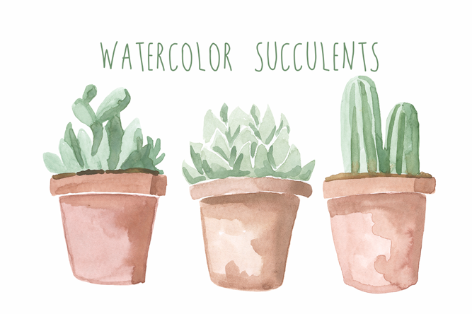 Watercolor Succulents - Digital Press Creation