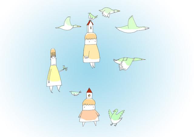disegno di bambine e papere in girotodo con sfondo azzurro