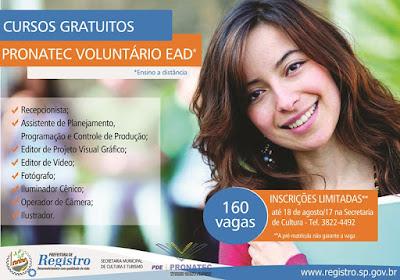 Prefeitura de Registro-SP recebe inscrições para cursos do PRONATEC Voluntário EAD