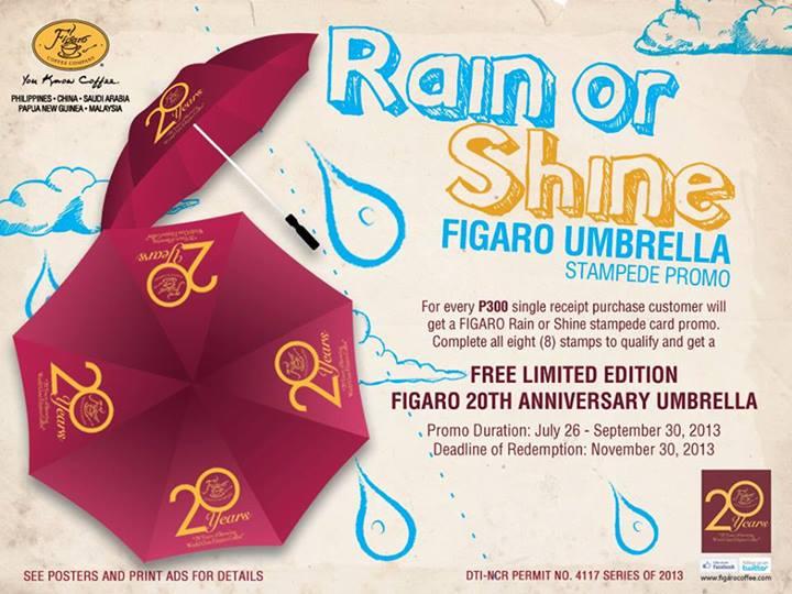 2de3d64c79d514 FREE  Figaro Rain or Shine Stampede promo. Get Free umbrella at any Figaro  stores until November 30