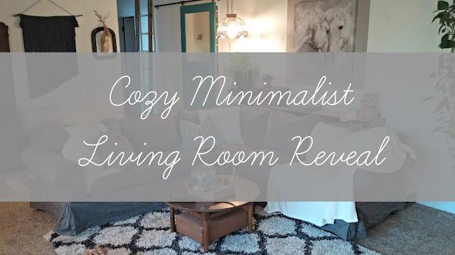 Cozy minimalist living room reveal little vintage cottage for Minimalist room makeover