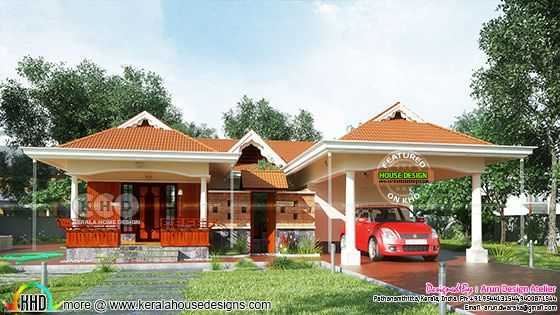 Kerala traditional Sloping roof house 1700 sq-ft