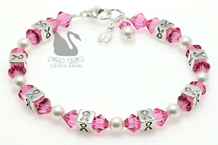 Breast Cancer Awareness Ribbon Crystal Allure Bracelet (BA033-BC) | Crystal Allure Beaded Jewelry Creations
