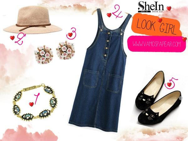 Lista de Desejos Shein Jrdineira Vestido, Brinco Boquê de Flores, Bracelete de olhos azuis,Sapatilha de Gato.
