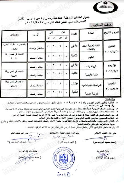 محافظة بنى سويف: جدول امتحانات الشهادة الاعداديه والابتدائيه 2018 الترم الاول