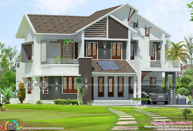 2300 Sq-ft 4 Bhk Mix Roof Modern Residence - Kerala Home