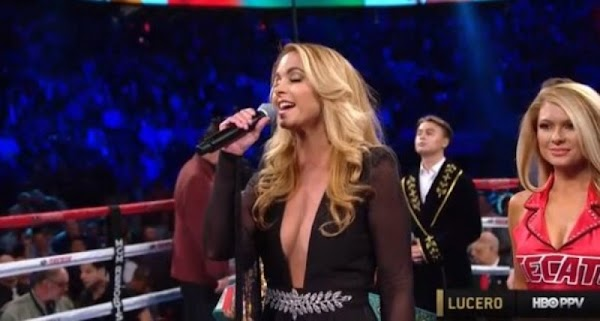 Critican a Lucero por equivocarse al cantar el Himno antes de la pelea del Canelo. (VIDEO)