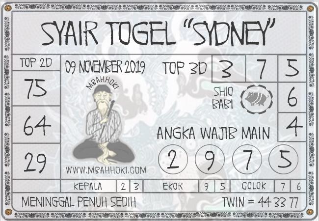 Prediksi Togel Sydney sabtu 09-11-2019