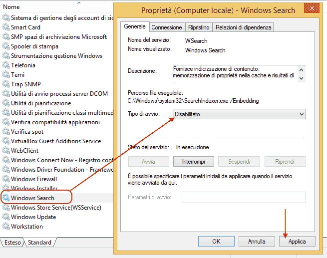 Windows 8 e 8.1 - Disabilitare servizio indicizzazione